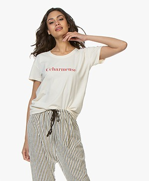 Vanessa Bruno Katoenen Ccharmeuse T-shirt - Crème/Rood
