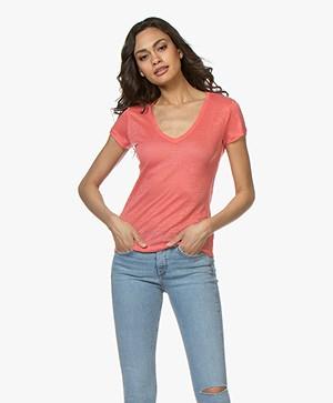 Majestic Filatures Linnen V-hals T-shirt - Calypso