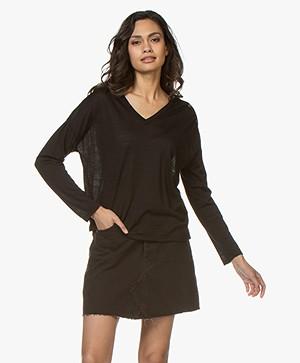 Pomandère Fine Knit Pullover in Virgin Wool - Black