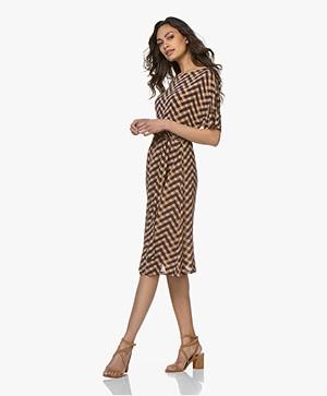 Siyu Geo Tech Jersey Short Sleeve Dress - Brown/Blue