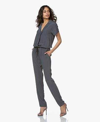 BY-BAR Boa Crêpe Jumpsuit - Deep Ocean