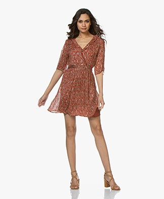 ba&sh Clem Crepe Printed Mini Dress - Terracotta