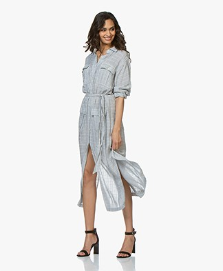Current/Elliott The Ana Striped Maxi Shirt Dress - Blue
