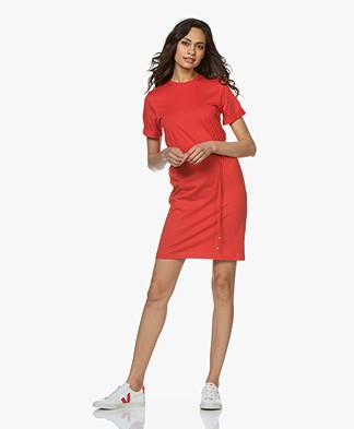 Filippa K Crew Neck T-Shirt Dress - Berry Red