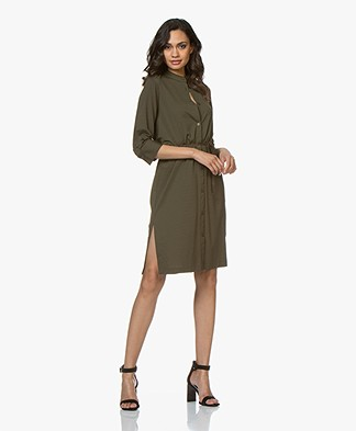 Filippa K Seer-sucker Shirt Dress - Olive Drab