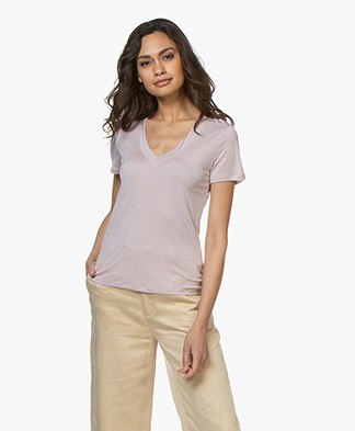Filippa K Tencel Deep V-neck Tee - Frosty Pink