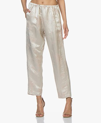 forte_forte Cropped Jacquard Pants - Cipria