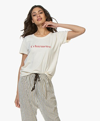 Vanessa Bruno Cotton Ccharmeuse  T-shirt - Cream/Red