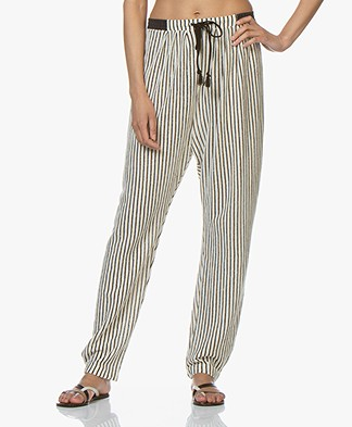 forte_forte Jersey Striped Pants with Lurex - Off-white/Black