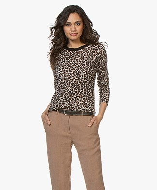 Zadig & Voltaire Miss CP Sweater with Leopard Print - Ficelle