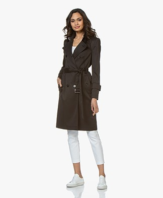 Drykorn Wentley Twill Trenchcoat - Zwart