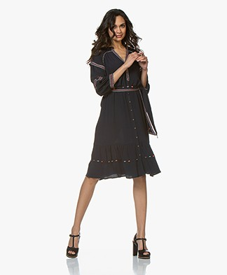 ba&sh Patty Embroidered Crepe Shirt Dress - Dark Blue
