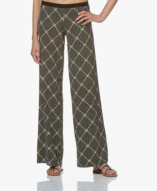 SIYU Lang Geometric Tech Jersey Pants - Black/Light Beige