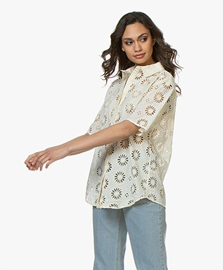 ba&sh Buster Embroidered Blouse - Ecru