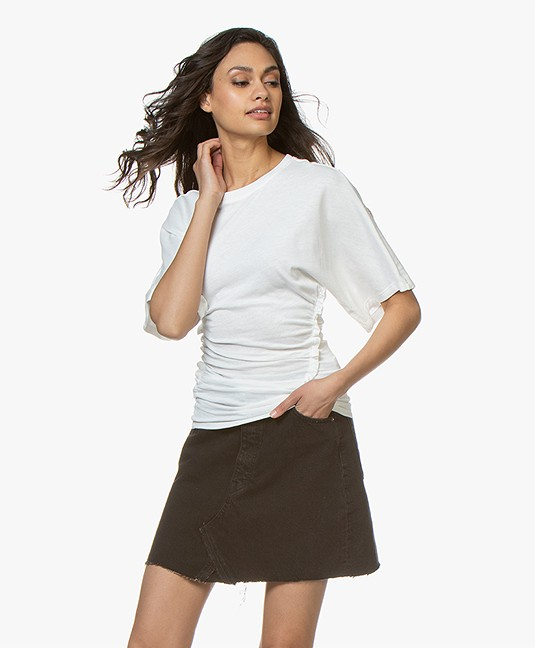 63882b02f3be2f IRO Frothy Shirred T-shirt - White - 19swm19frotuy