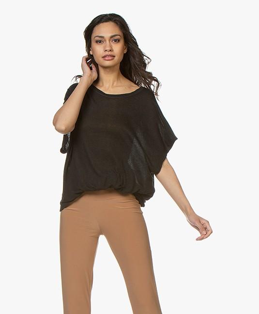 Fine Edge Oversized Wool Blend T-shirt - Black - ft03-0014