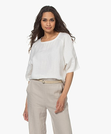 Woman by Earn Merel Short Sleeve Linen Blouse - Off-white