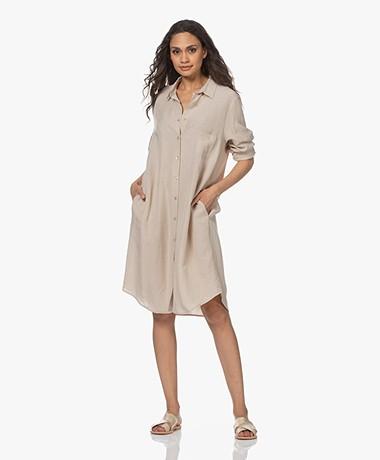 no man's land Viscose-Linen Blend Shirt Dress - Oak