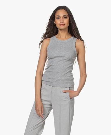 Drykorn Olina Cotton Rib Jersey Tank Top - Grey Melange