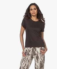 Filippa K Hazel Linnen T-shirt - Dark Mole