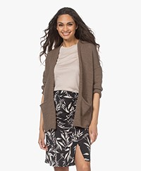 indi & cold Linen Blend Open Cardigan - Topo