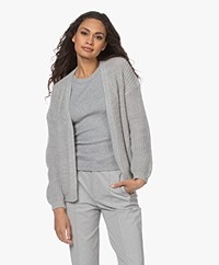 by-bar Lara Mohair Blend Open Cardigan - Grey Melange