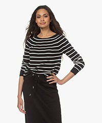 no man's land Striped Cotton Sweater - Black/White