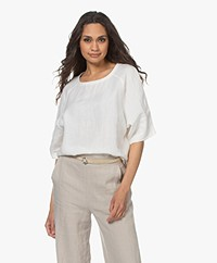 Woman by Earn Merel Linnen Korte Mouwen Blouse - Off-white