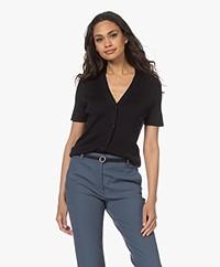 Drykorn Zabini Silk Blend Button-through Short Sleeve Cardigan - Dark Navy
