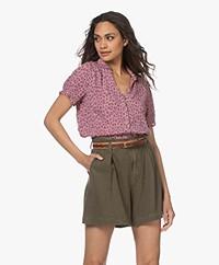 indi & cold Viscose Millefleurs Short Sleeve Blouse - Lilac