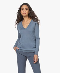 Joseph Cashair Pure Cashmere V-neck Sweater - Blue Steel