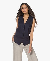 Woman by Earn Giles Linnen Gilet - Navy