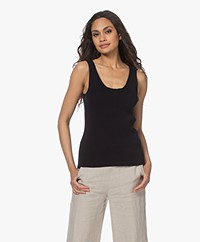 Woman by Earn Karly Rib Knitted Tank Top - Navy