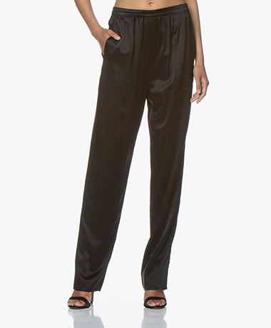 extreme cashmere N°71 Satijn Zijden Broek - Zwart