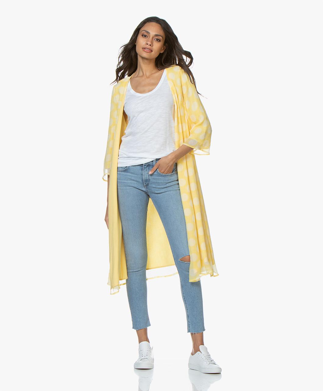 Immagine di American Vintage Dress Iristate Printed Wrap in Diva Yellow