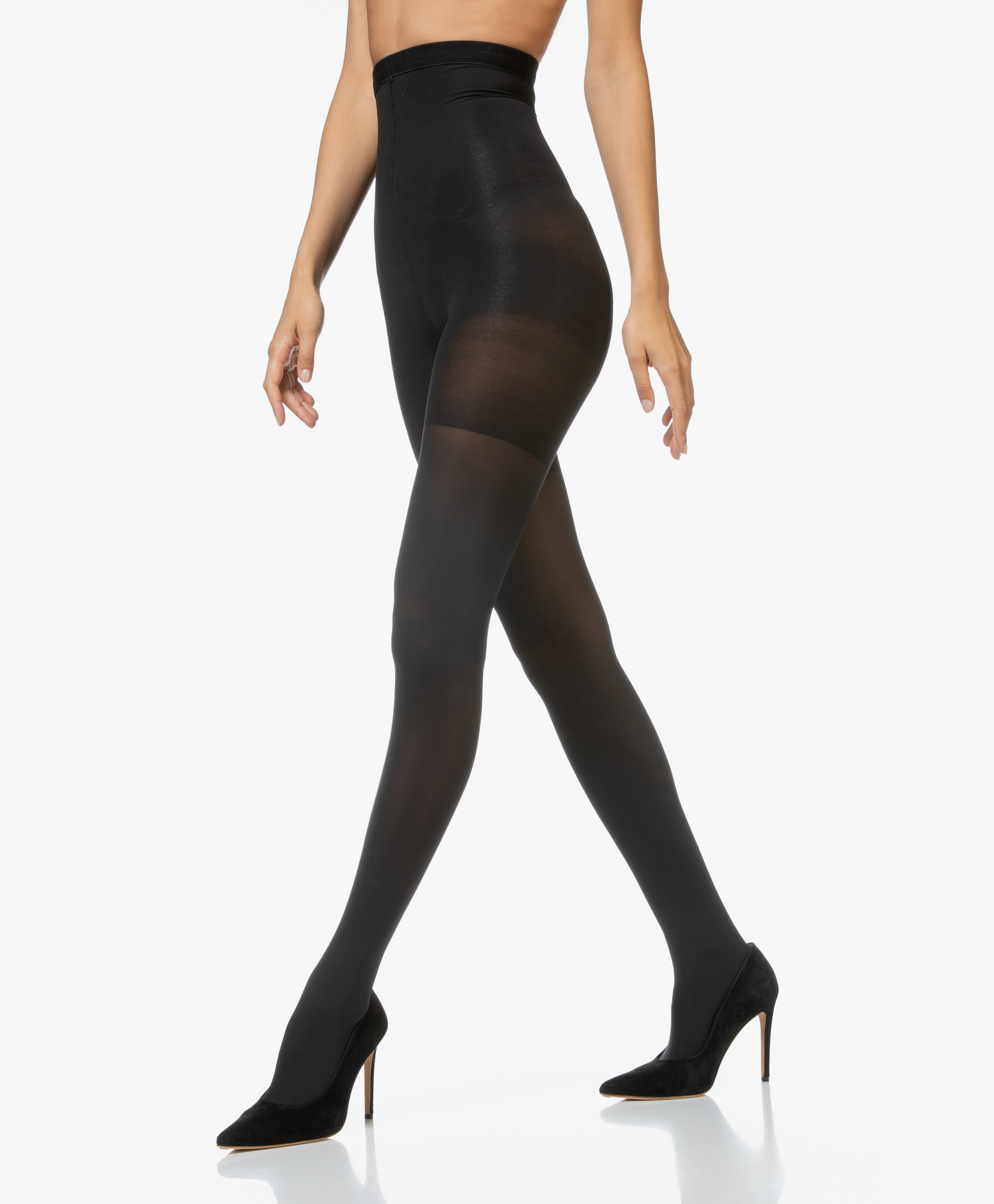 Spanx Womens 250424 High Waisted Luxe Leg Tights Solid Very Black Size C