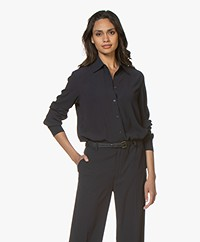 Filippa K Long Crepe Blouse - Navy