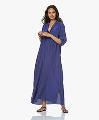 extreme cashmere N°68 Lord Maxi Shirt Dress in Habotai Silk - Electric Blue
