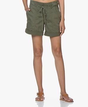 Drykorn Good Cotton Blend Twill Shorts - Khaki