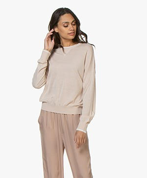 Filippa K Soft Sport Sheer Knit Sweater - Plaster/Off-white