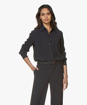 Filippa K Long Crepe Shirt - Navy