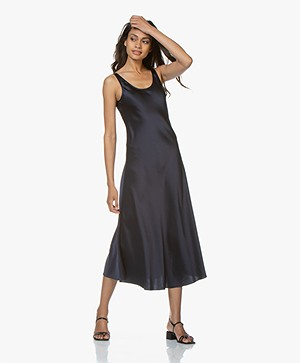 Filippa K Long Satin Slip Jurk - Navy