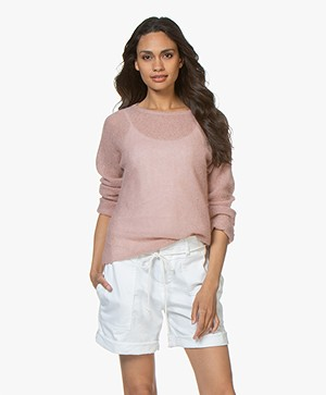no man's land Mohair en Alpaca Sweater - Antique Rose