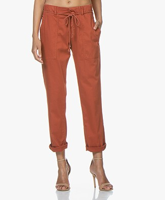 Drykorn Bad Loose-fit Katoenmix Broek - Terracotta Oranje