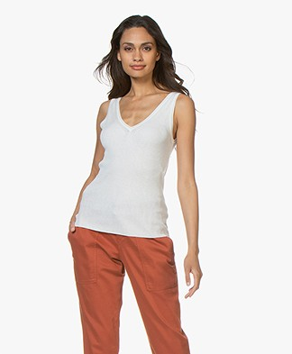 Drykorn Melle Fine Knit Silk Blend Top - Off-white