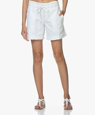 Drykorn Good Cotton Blend Twill Shorts - White
