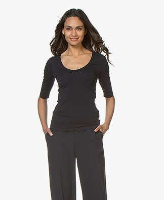 Filippa K Cotton Stretch Scoop Neck T-Shirt - Navy