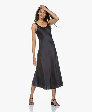 Filippa K Long Satin Slip Dress - Navy