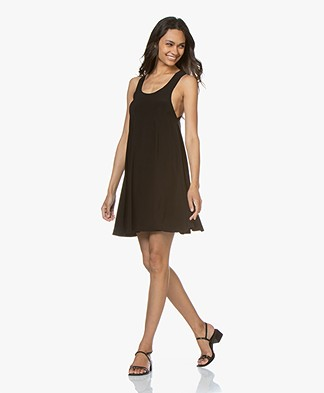 Norma Kamali Racer Flared Swing Tech Jersey Dress - Black