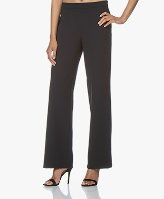 Woman by Earn Tine Wide Leg Crepe Pants - Navy